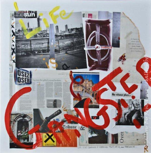 """Peinture acrylique avec collages sur toile (100  x 100 cm) - """" Life is a Gangster """""""