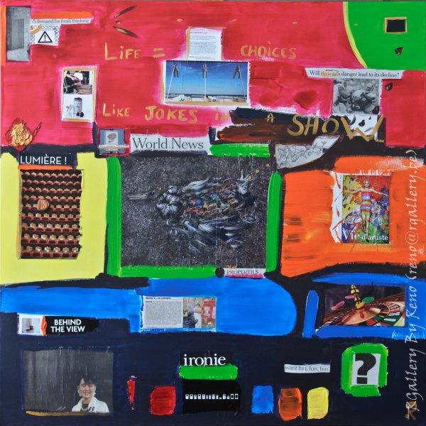 """Peinture acrylique avec collages sur toile (100 x 100 cm)  - """" Behind the view """""""