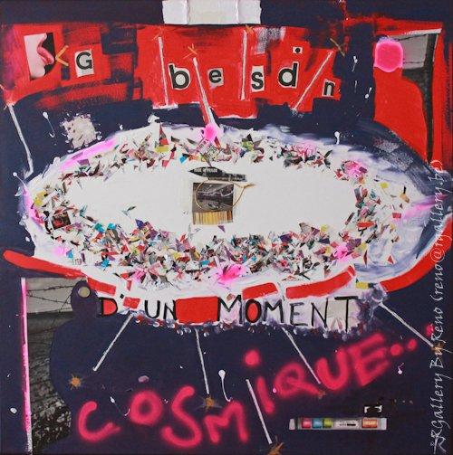 """Peinture acrylique avec collages sur toile (100 x 100 cm) - """" Cosmique """""""