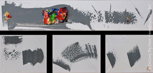 """Peinture acrylique avec collages sur toile (100 x 20  -  30 x 24  - 30 x 24  -30 x 24 cm) - """" Just one more """""""