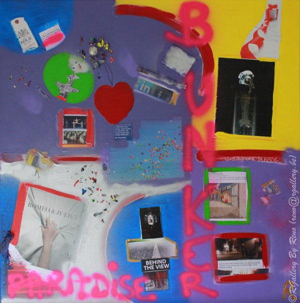 """Peinture acrylique avec collages sur toile (100 x 100 cm) - """" Bunker Paradise"""""""