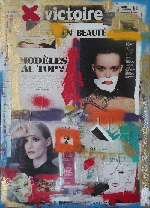 """Peinture acrylique avec collages sur toile ( 50 x 70 cm) - """" Victoire en beauté """""""