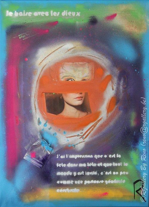 """Peinture acrylique avec collages sur toile ( 50 x 70 cm) - """" Eclat d femme """""""