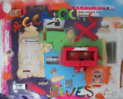 """Peinture acrylique avec collages sur toile ( 80 x 100 cm) - """" Come true """""""