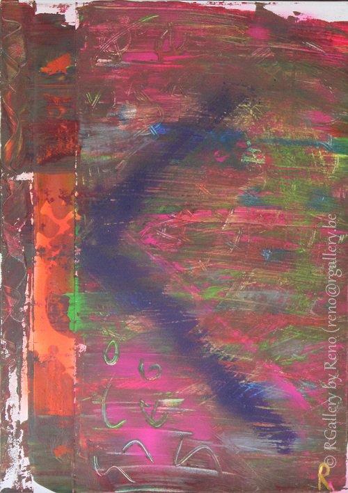 """Peinture acrylique avec collages sur toile ( 50 x 70 cm) - """" K """""""