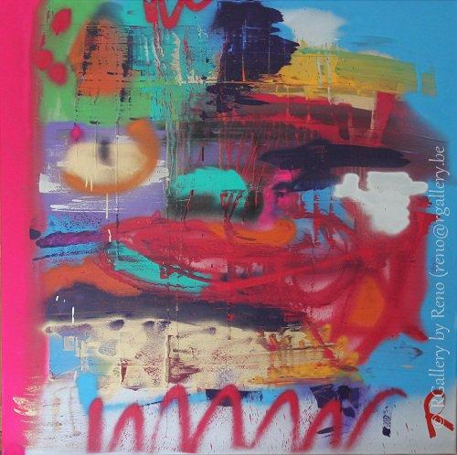 """Peinture acrylique avec collages sur toile ( 100 x 100 cm) - """"  My world"""""""