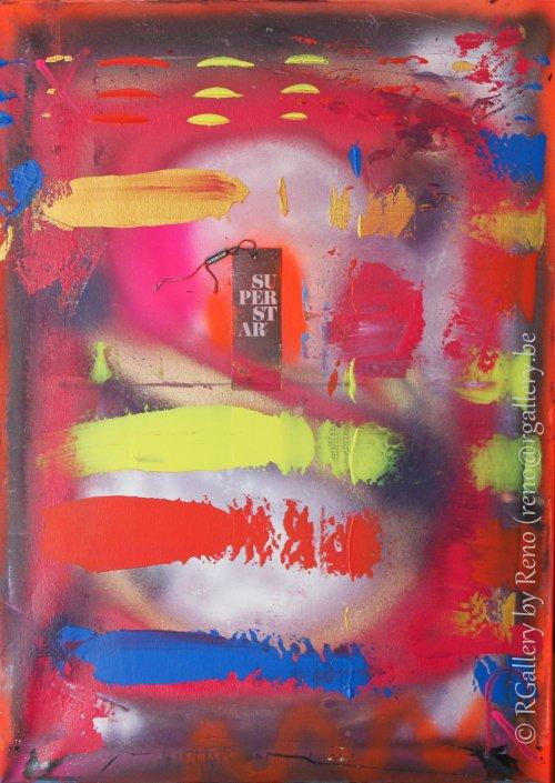 """Peinture acrylique avec collages sur toile ( 50  x 70 cm) - """" L'Instinct """""""