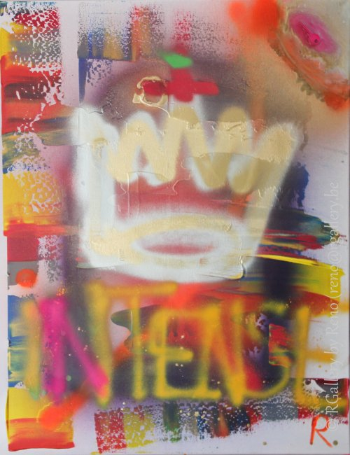 """Peinture acrylique avec collages sur toile ( 70  x 90 cm) - """" Intense """""""