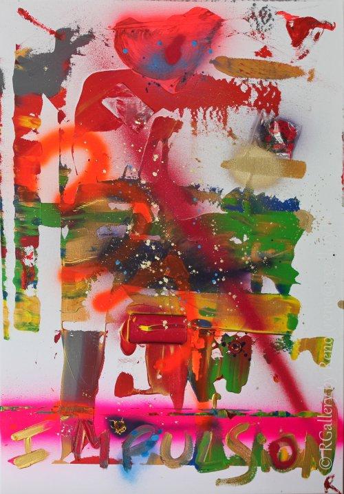 """Peinture acrylique avec collages sur toile ( 70 x 100 cm) - """" Impulsion """""""