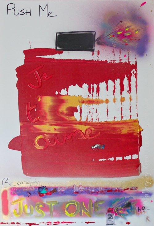 """Peinture acrylique avec collages sur toile ( 70 x 100 cm) - """" Just One """""""