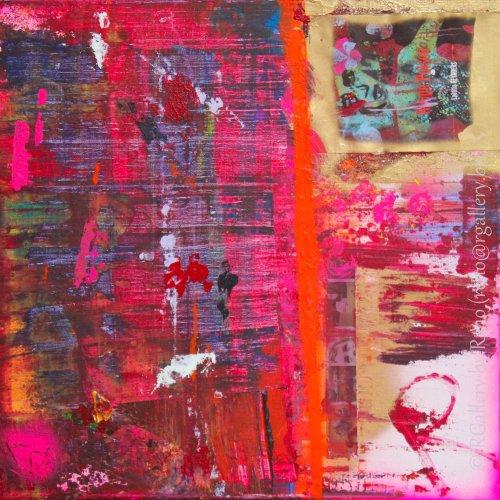 """Peinture acrylique avec collages sur toile ( 40 x 40 cm) - """" Rouge Poison """""""