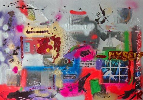 """Peinture acrylique avec collages sur toile ( 100 x 70 cm) - """" One step ahead """""""