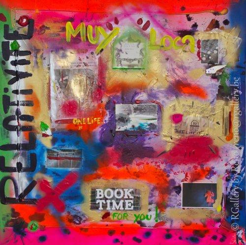 """Peinture acrylique avec collages sur toile ( 100 x 100 cm) - """" Stop thinking and swing """""""