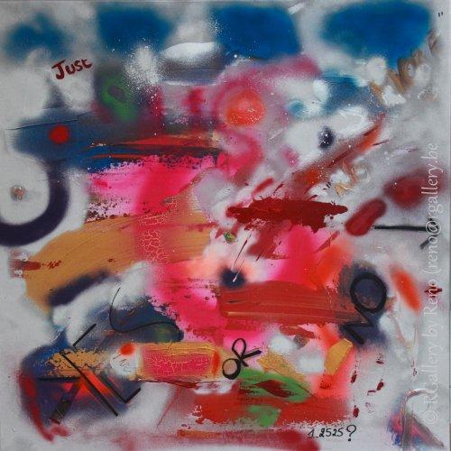 """Peinture acrylique avec collages sur toile ( 100 x 100 cm) - """" No more """""""