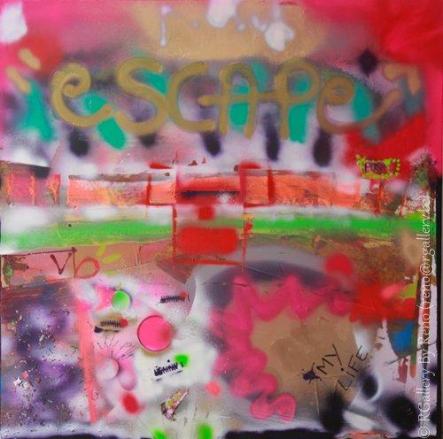 """Peinture acrylique avec collages sur toile ( 100 x 100 cm) - """" escape """""""