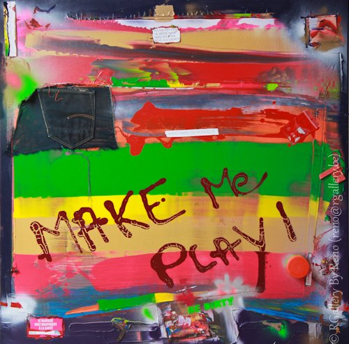 """Peinture acrylique avec collages sur toile ( 100 x 100 cm) - """" Make me play """""""