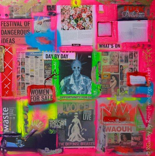 """Peinture acrylique avec collages sur toile ( 100 x 100 cm) - """" Outside to inside in -  Wowen for sale """""""