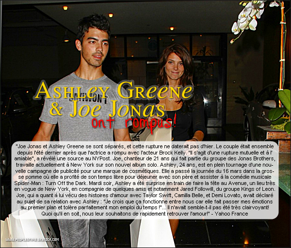 Scoop > Joe Jonas et Ashley Greene : c'est fini!