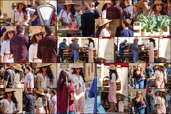 11 octobre 2017 : La superbe miss Chopra tournait une scène pour la saison 3 de Quantico à Montepulciano, en Italie. Priyanka portait une tenue très sympathique qui rappelle les vacances. Elle va parfaitement bien avec l'ambiance dolce vita qui se dégage du décor. Top !