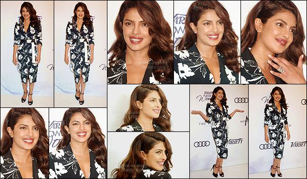 13 octobre 2017 : Pri' Chopra était présente lors de l'événément Variety's Power of Women qui se déroulait Los Angeles. La belle actrice arbore une belle robe noire avec des fleurs blanches qui lui va merveilleusement bien. De plus, elle est toujours aussi rayonnante. Top !