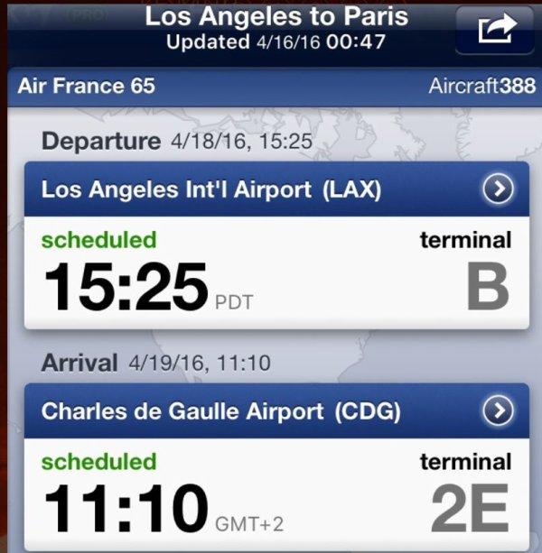 Bientôt le départ pour Paris (Décalage 9 heures en moins pour Los Angeles)