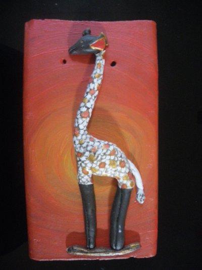 Pate à sel sur tuile: girafe