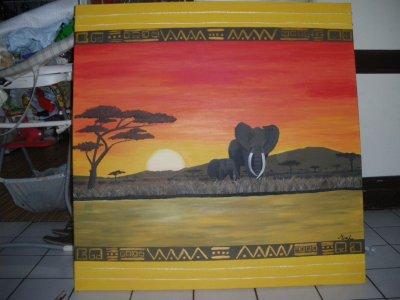 commande fini!!!Eléphants au couché du soleil