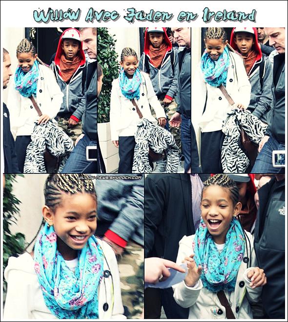 -    Mardi 8 mars, une foule de fans attendait Willow devant l'Hôtel Merrion à Dublin en Irlande. Willow était avec son père ainsi que Jaden. Avant de partir pour l'02 Arena ou Willow devait perfomée. elle signa quelques autographes, très souriante.   -