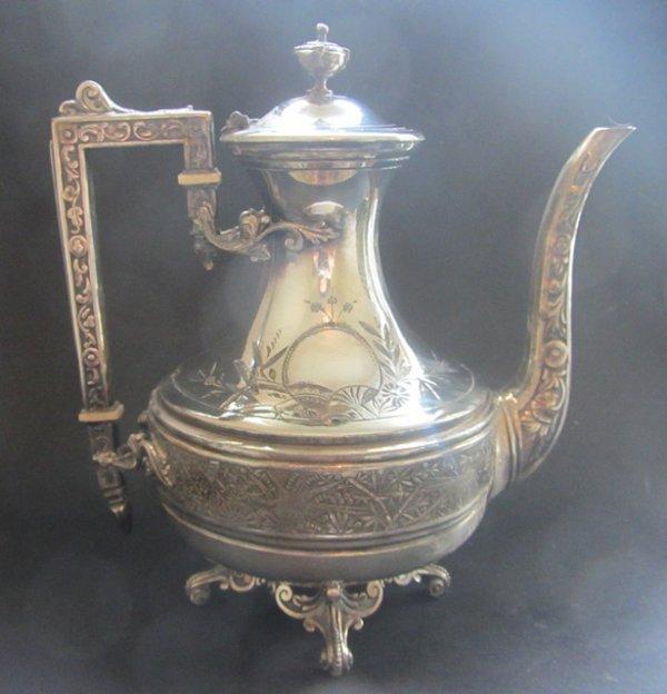 magnifique ancienne theiere en metal argente alfenide christofle gallia 1880. Black Bedroom Furniture Sets. Home Design Ideas