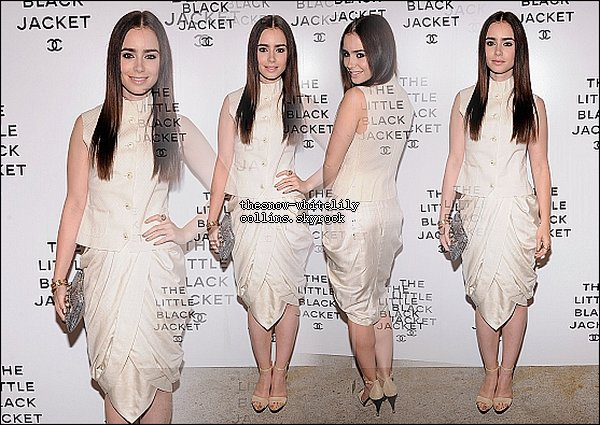Le 6 juin, Lily était au The Little Black Jacket Chanel Exhibit