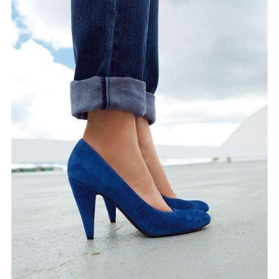 escarpin noir et bleu