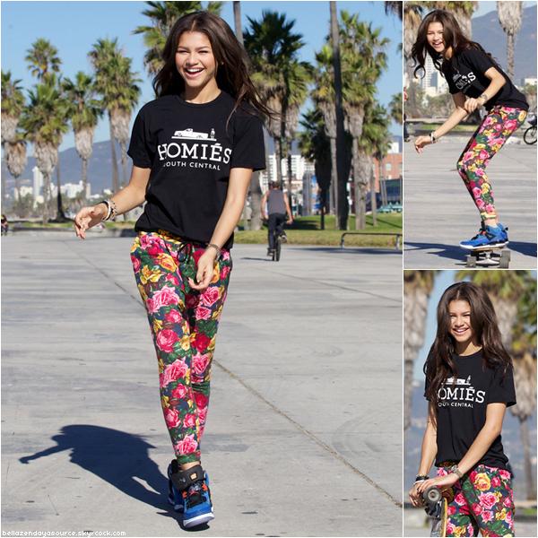 Zendaya et des amis s'amusant a faire du skate board à Venice Beach a Los Angeles ce 28 octobre 2012.