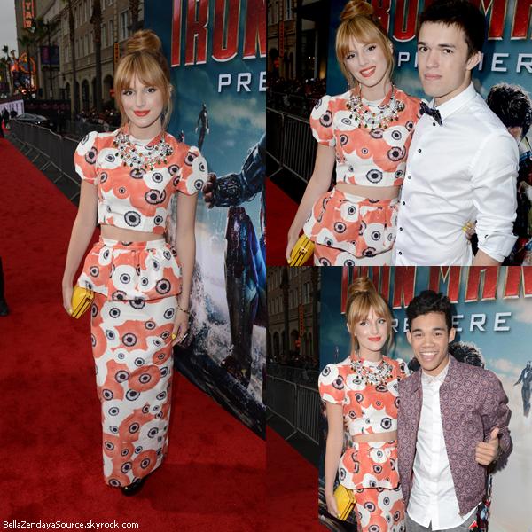 Bella à la première du film Iron Man 3 accompagnée de son frère Remy, le 24 avril 2013.