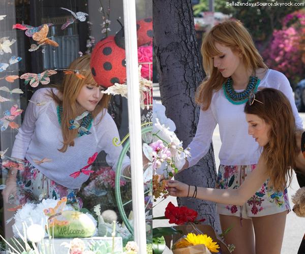 Bella, Remy, Dani et son copain achetant des fleurs pour la fete des mères le 12 mai 2013.