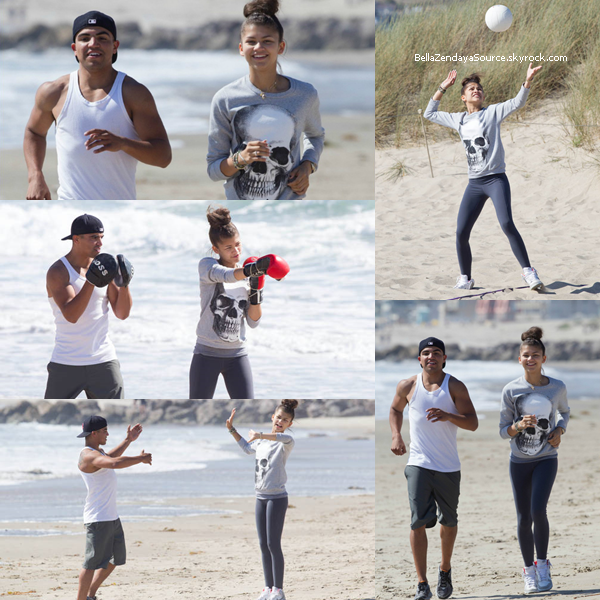 Zendaya et son coach sportif Victor Ortiz à une plage de Los Angeles le 4 juin 2013.