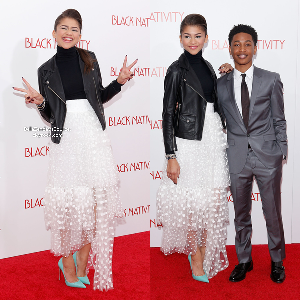 Zendaya à la première de Black Navity au Appolo Theater à New York.