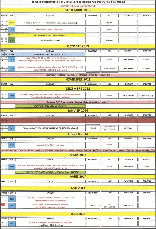 CALENDRIER CD 53 SAISON 2014