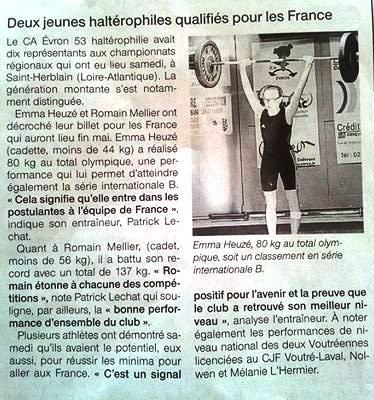 EMMA A LES RECORDS DE FRANCE EN U15 -44KG