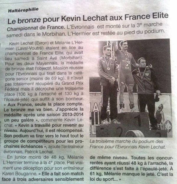 KEVIN UNE BELLE MEDAILLE