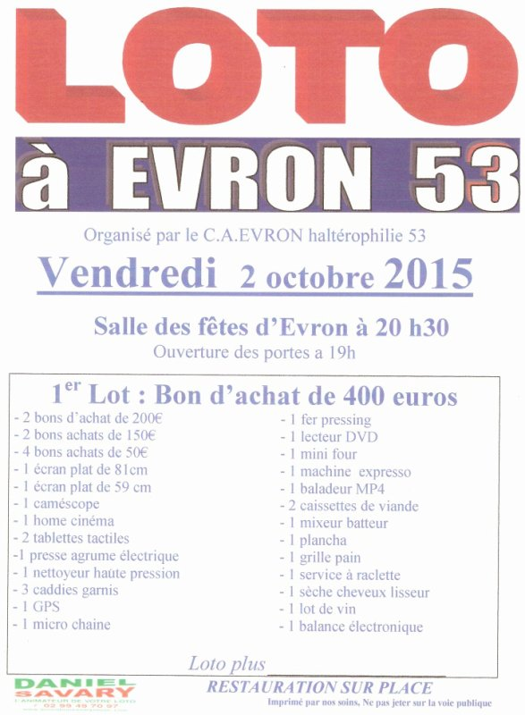 loto au club le 2 octobre 2015