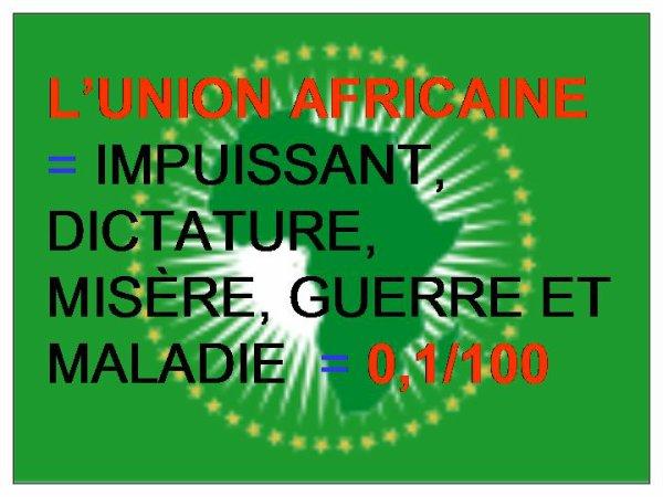 LE BILAN DE L'UNION AFRICAINE DEPUIS SA CRÉATION = 0,1/100