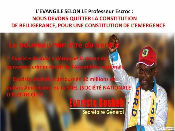 L'EVANGILE SELON LE PROFESSEUR ESCROC :  NOUS DEVONS QUITTER LA CONSTITUTION       DE BELLIGERANCE, POUR UNE CONSTITUTION DE L'EMERGENCE