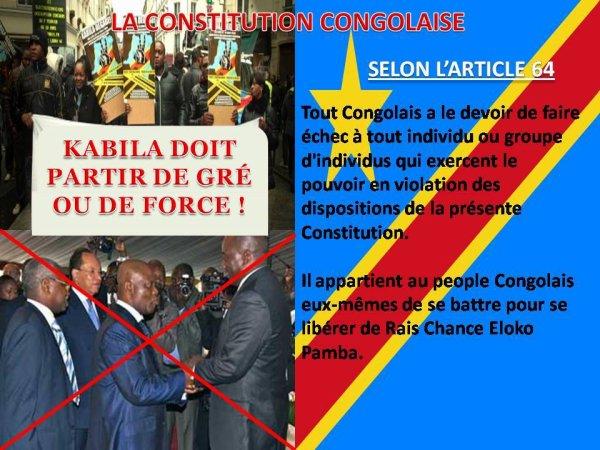 LA CONSTITUTION CONGOLAISE:  SELON L'ARTICLE 64