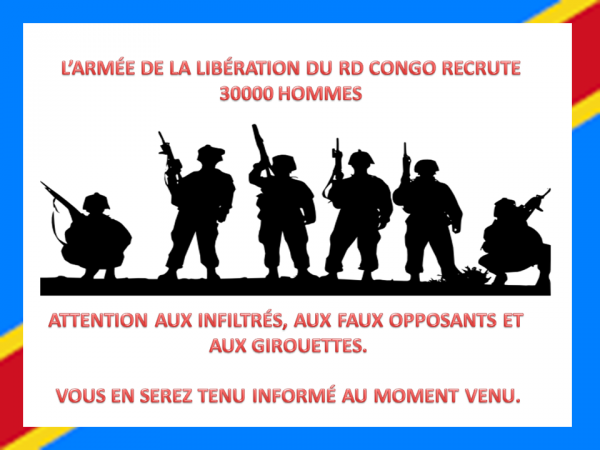 L'ARMÉE DE LA LIBÉRATION DU RD CONGO RECRUTE 30000 HOMMES