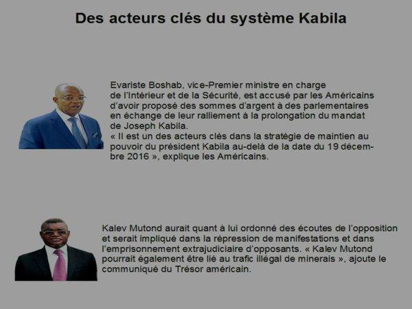 RDC: les Etats-Unis sanctionnent Evariste Boshab et Kalev Mutond