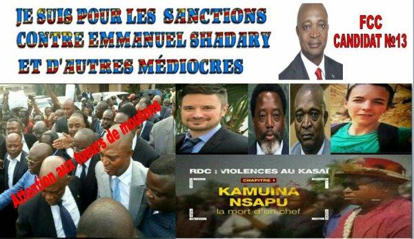 RDC: JE SUIS POUR LES SANCTIONS CONTRE EMMANUEL SHADARY ET D'AUTRES MÉDIOCRES