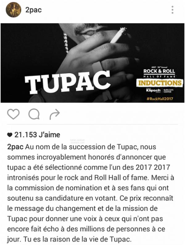 __ _▪ Tupac rejoint le Rock & Roll Hall of Fame. Il n'est que le 6e rappeur à recevoir la distinction… Le Rock & Roll Hall of Fame comptera à partir de l'an prochain quelques nouveaux membres émérites. Parmi eux, le rappeur new-yorkais Tupac Shakur.  Comme le rappelle le New York Times, c'est seulement le sixième artiste hip-hop à rejoindre le Panthéon du Rock, et le premier artiste solo. Avant lui, N.W.A l'an dernier, Public Enemy en 2013 ou encore les Beastie Boys en 2012, l'avaient intégré. Tupac n'est pas le seul à rejoindre la grande famille du Rock & Roll Hall of Fame, puisque Pearl Jam, Journey, Joan Baez, Electric Light Orchestra et Yes appartiendront à compter de l'an prochain au Panthéon du Rock. Pas de chance pour Chic en revanche, recalés pour la 11e fois, ni les Zombies, les Cars ou encore Depeche Mode, qui n'ont pas été retenus. La cérémonie se tiendra le 7 avril prochain au Barclays Center à Brooklyn, et sera retransmise sur HBO. -----------Crédite d'un lien visible pour toute reprise de ces informations !      __