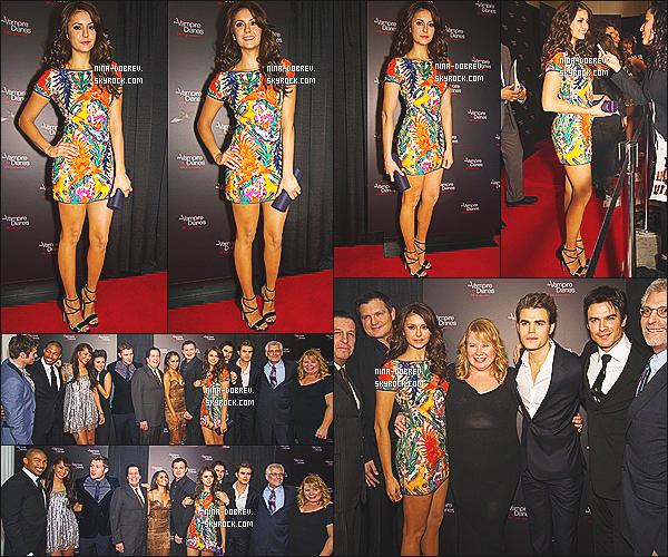 09/11/2013 :.  Nina et le cast de The Vampire Diaries se sont réunis pour fêté le 100éme épisode de la série.