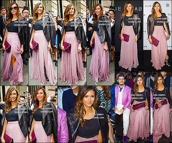 09/07/2014 : Nina Dobrev a cette fois-ci assisté au défilé  « Elie Saab ». lors de la .« Fashion Week ». à Paris.