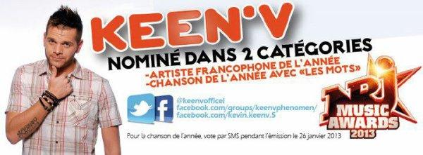 """KEEN'V NOMINE DANS LA CHANSON DE L ANNEE AVEC """"LES MOTS"""" POUR LES NMAs!!"""